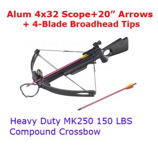 150lb Hunting Compound Crossbow 4x32 Scope 20 Arrow