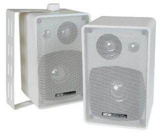 Indoor Speakers Pair White w Wall Mounts Home Audio Commercial