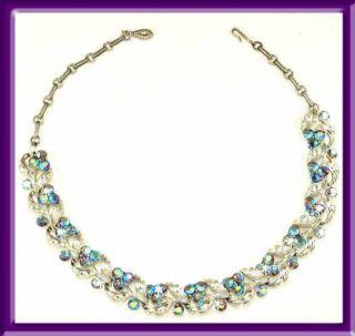 Lisner Necklace Vintage Blue Purple Aurora Borealis Rhinestone