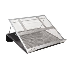Rolodex Mesh Laptop Stand With Cord Organizer   Metal   Black, Silver
