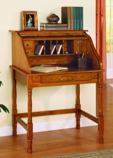 Roll Top Secretary Desk Oak Finish Home Office Furniture Wood