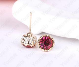 18K Gold Plated Ear Pin Use Aubergine Swarovski Crystal Charming Studs