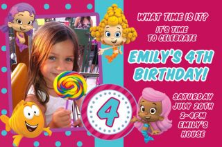 Guppies Birthday Party Invitations Any Color Scheme UPRINT