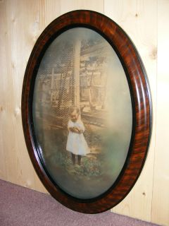 Antique Oval Bubble Glass Wood Frame Hand Colored Child Picture