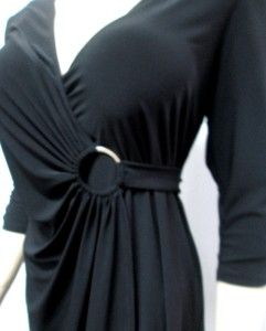 Colleen Lopez Sz s My Favorite Things Jersey Knit Wrap Dress Black New