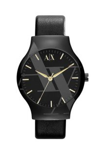 AX Armani Exchange Round Leather Strap Watch
