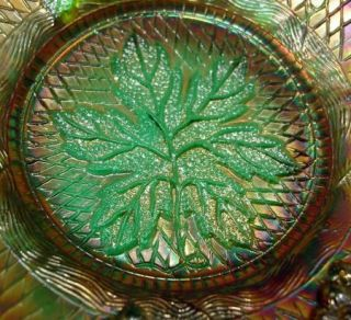 Fenton Concord Grape Green Carnival Glass 7 3 4 Bowl 1907 1922 No