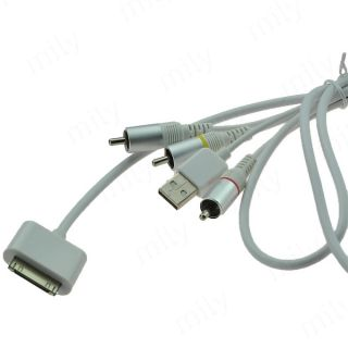 High Quality Composite Video AV Cable to TV RCA USB Line for iPad