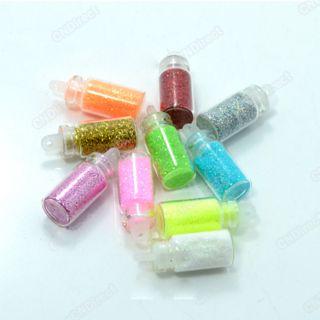 New 10 Bottles Nail Art Iridescent Confetti Glitter Mini Beads Spangle
