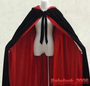 Lined Black Red Velvet Hooded Cloak Cape Wedding LOTR