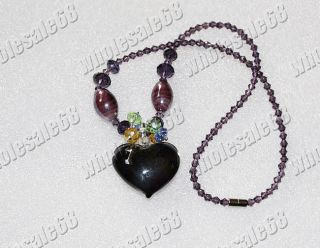 Wholesale Lots 5pcs Heart Glass Pendant Crystal Bead Chain Link