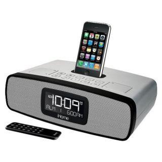 iHome iP90 Alarm Clock Radio for iPod iPhone Silver