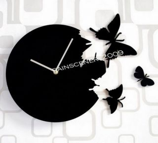New Wall Clock Clocks Home Decor Art Modern Design Butterfly Black