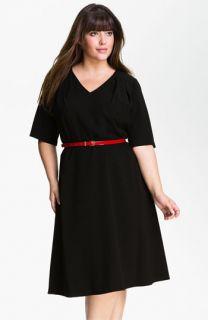 Calvin Klein Belted V Neck Dress (Plus)