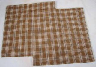 Country Mustard Tan Plaid Sturbridge Cloth Napkin Set 2