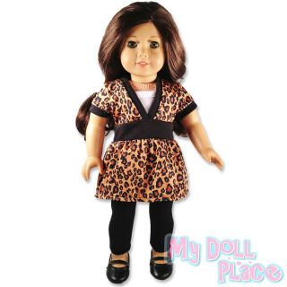 Doll clothes fit American Girl * Leopard Outfit Tunic Top and Leggings