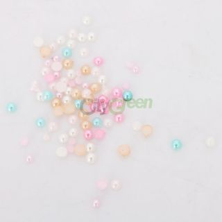 New 6 Colors Cute 3D Nail Art Decoration Pearl Round Nail DIY