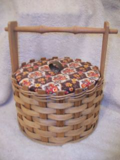 Unique Collectible ROUND Wicker Wood Sewing Basket with Removable tray
