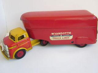 vtg WYANDOTTE Construction Truck Lines Toy Pressed Steel Semi Tractor