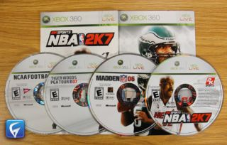 MADDEN 06, NBA 2K7, NCAA FOOTBALL 07, TIGER WOODS PGA TOUR 07