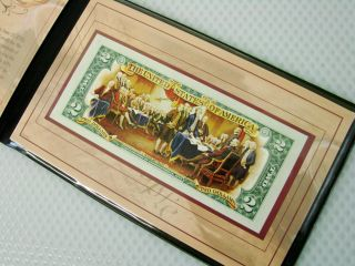 Colorized US $2 Two Dollar Bill Note w Booklet