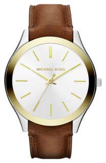 Michael Kors Slim Runway Leather Strap Watch