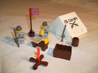 Lego Civil War Custom Confederate Cavalry Base Camp Set