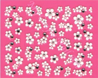 White Flower and Clear Rhinestone Nail Stickers, Decals, Art
