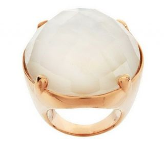 Honora Mother of Pearl Faceted Oval Doublet Bronze Ring —