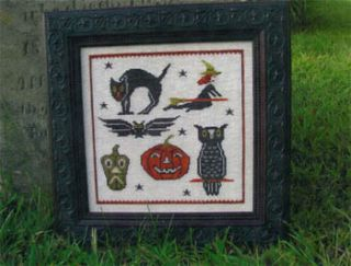 Retro Halloween Cross Stitch Pattern Primitive Needle