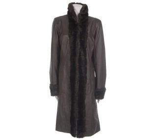 Bradley by Bradley Bayou Lamb Leather Coat with Faux Fur Trim