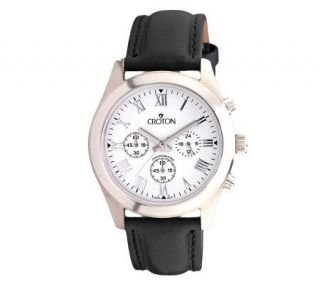 Croton Mens Stainless Steel Black Dial AnalogWatch —