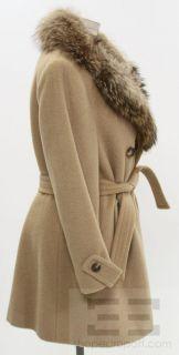 Young Dimensions Tan Wool Fox Fur Collar Coat