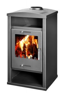 Wood Burning Contemporary Multi Fuel Stove 15KW Rio with Back Boiler