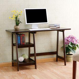 Espresso Computer Desk Wood Home Office Furniture New