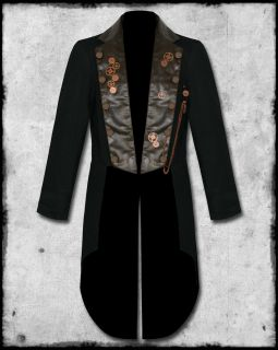 SDL Mens Black Brown Steampunk Copper Key Chain Cog Tailcoat Tail Coat