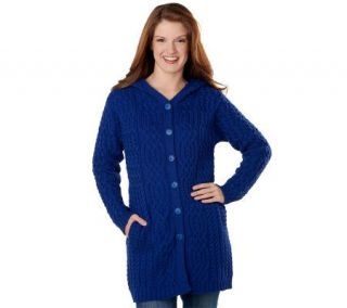 Aran Craft Merino Wool Button Front Hooded Cardigan —