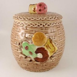 Vintage Napco Ceramic Cookie Jar Woven Basket C 5170