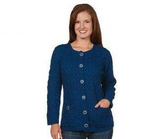 Aran Craft Merino Wool Button Front Cable Knit Cardigan   A218128