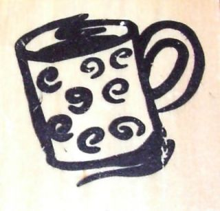 CUP COFFEE TEA CHOCO WITH SWIRLS ON IT WOOD MOUNTED RUBBER STAMP
