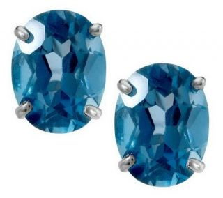 95 ct tw Oval London or Swiss Blue Topaz Sterling Stud Earrings
