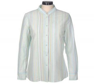 Denim & Co. Stretch Seersucker Mandarin Collar Striped Shirt