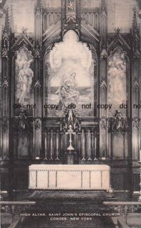 Old Cohoes New York St Johns Church Altar NY Postcard