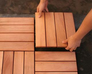 Composite Wood Deck Tiles Instant Patio Decking Set of 10 Tiles per