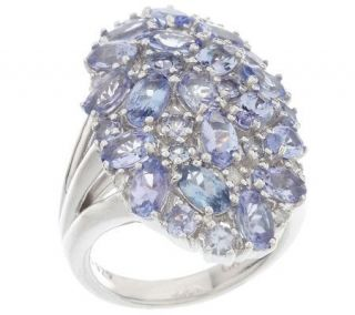 Sterling 4.20 ct tw Tanzanite Bold Oval Cluster Ring —