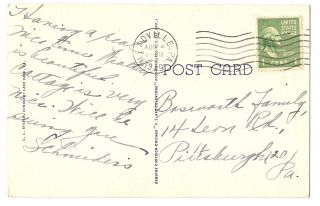 Bathing Beach Hotel Conneaut Lake Park PA Swimming Stamp 1949