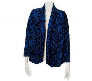 Susan Graver Animal Print Brushed Knit Open Front Cardigan —
