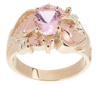 Black Hills Pink Helenite Leaf Ring 10K Gold —