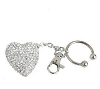 Simply Radiant Crystal Embellished Heart Key Ring —