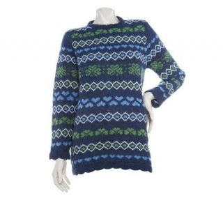 Merino Wool Crew Neck Sweater with Hearts and Shamrock Detail
